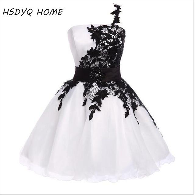 Бесплатная доставка лето одно плечо платья выпускного вечера белый розовый выпускного вечера вечерние платья короткие Выпускной Vestidos настоящая фотография