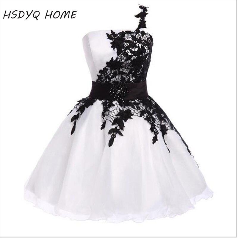 Livraison gratuite été une épaule robes de bal blanc rose robes de bal courte remise des diplômes Vestidos Photo réelle