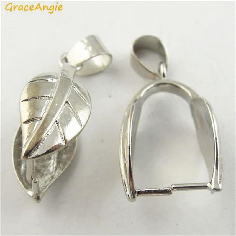 GraceAngie 8PCS Copper Made Shiny Silver Color Pinch Bail Leaf Shape Simplify Designed Han