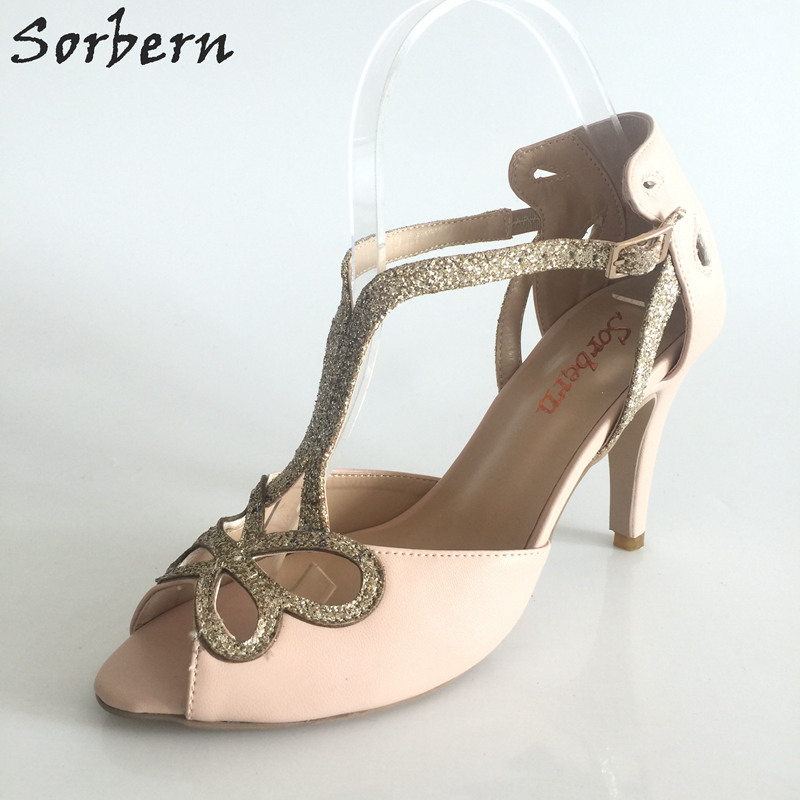 11aa27b182974 Sorbern T-Strap Custom Color Wedding Shoes Sandals Women Shoes 42 Bridal  Shoes Size 34-46 ...