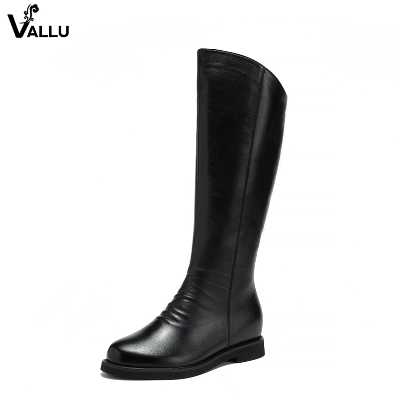 Fashion Black Mid-Calf Boots Shoes Woman 2018 Winter Lady Warm Boots Natural Leather Height Increasing Female Heeled Plush Shoes цена