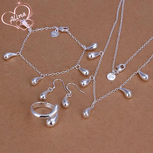 Free Shipping silver plated jewelry set, fashion jewlery set Droptear Ring Stud Earrings Bracelet Necklace Jewelry Set S217
