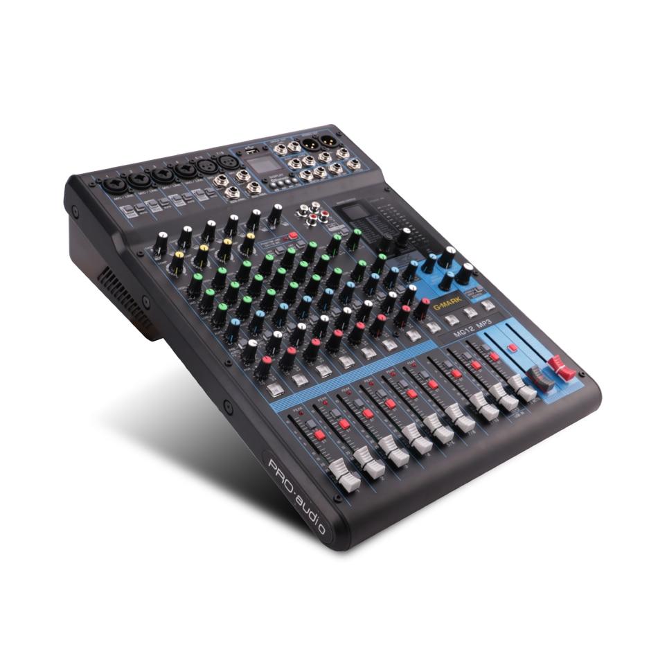 G-MARK Профессиональное аудио Смеситель консоли Bluetooth записи 26 Язык операционной системы 4 моно 4 стерео 12 Каналы 3-полосный эквалайзер