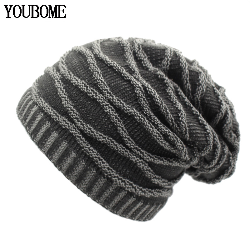 YOUBOME Fashion   Skullies     Beanies   Men Winter Knitted Hat Winter Hats For Women Man Bonnet Warm Thicken Baggy Male   Beanie   Hat Caps