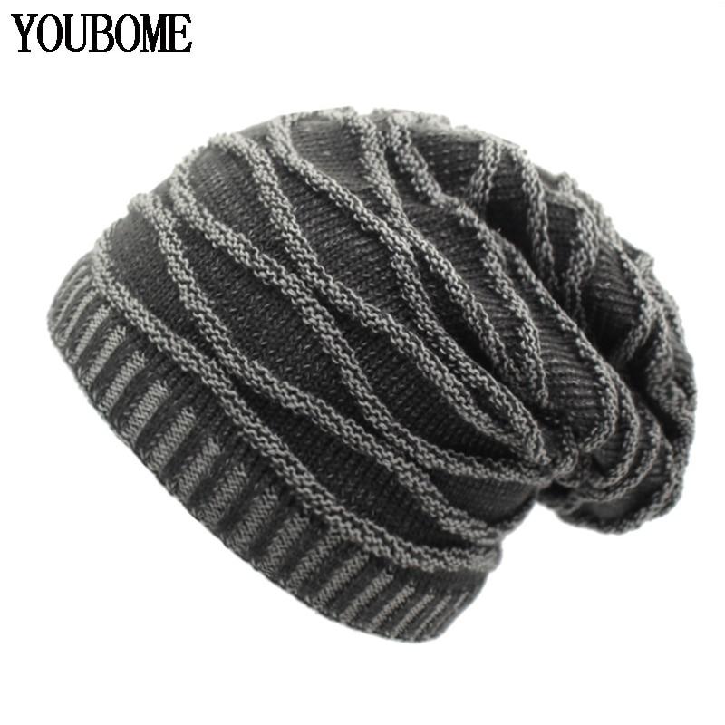 YOUBOME Fashion   Skullies     Beanies   Men Winter Knitted Hat Winter Hats For Women Man Bonnet Warm Thicken Baggy Male   Beanie   Hat Caps