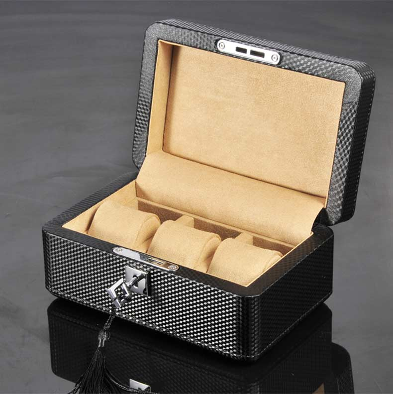 3 Slots Carbon Fiber Watch Storage Box Black PU Leather Watch Organizer With Lock New Mechanical