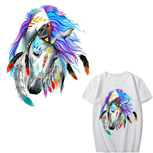 Colorful Horse Patches for Jeans Fashion Clothes Stickers Iron-on Patches for Clothing A-level Washable Heat Press Appliqued clothing to iron on patches personality wolf patches a level washable heat transfer stickers 25 19cm appliqued
