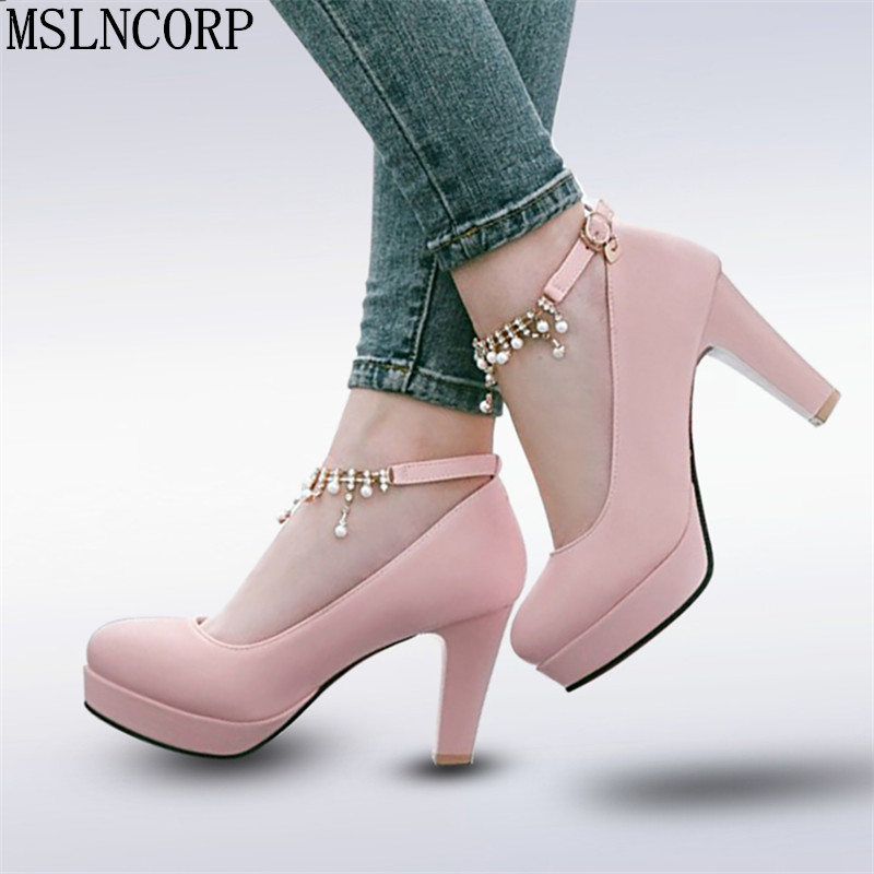 plus size 34-44 Women Thick High Heel Shoes Sexy Women Metal Chain Crystal Platform Heels Pumps Ladies Office Daily work dress plus big size 34 43 sandals ladies platforms lady fashion dress shoes sexy high heel shoes women pumps a25