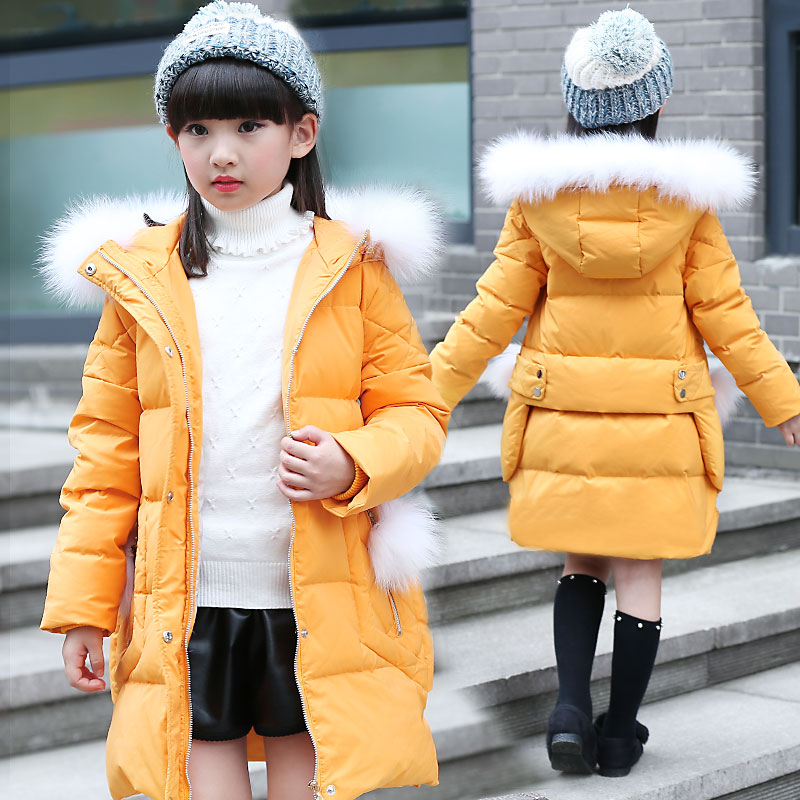 New Children Winter Jacket Girl Winter Coat Kids Warm Thick Fur Collar Hooded long down Coats For Teenage 5-9Y Yellow Pink Black black hooded lapel collar long sleeves sweaters coat