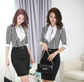 Formal Elegant Fashion Spring Summer 2015 Women Business Suits Blouses And Skirt Office Work Ladies Uniforms Sets Free Shipping
