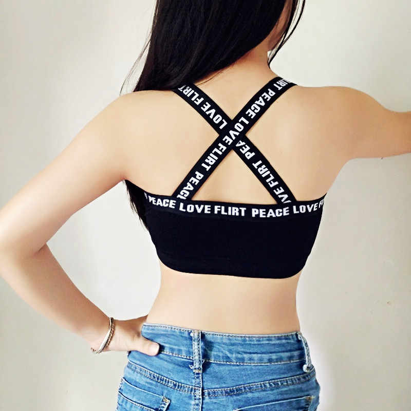 aa99afc382 Summer Tops Bra For Women Cropped Sexy Cross Design Letter Tanks For Girl  Tank Black White