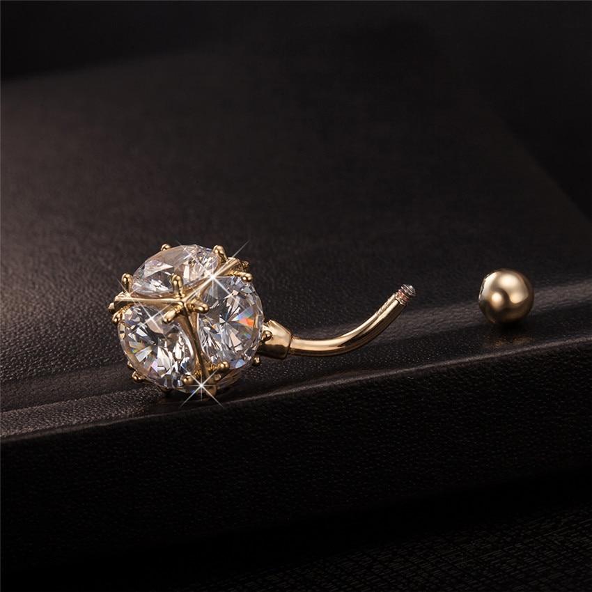 Gussiarro Magic Ball CZ Perhiasan Emas-warna Belly Button Rings - Perhiasan fashion - Foto 5
