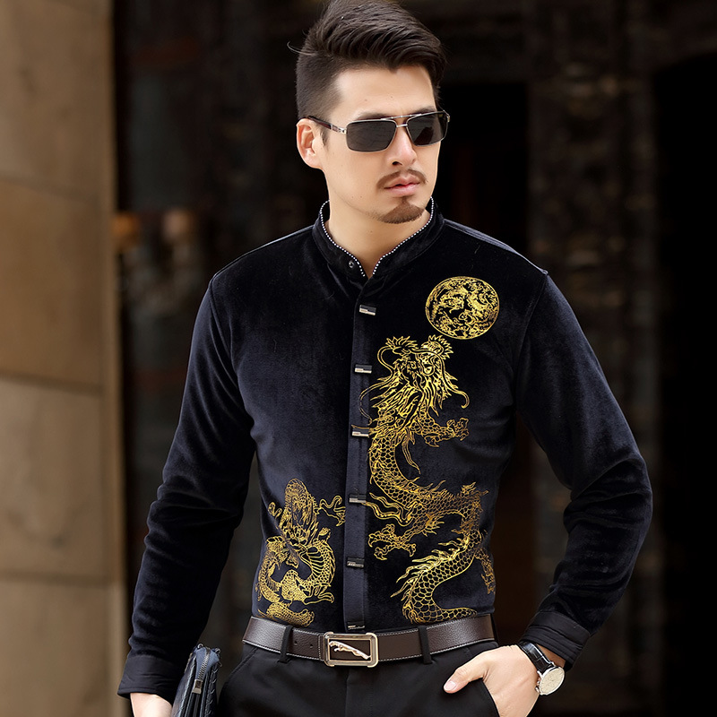<font><b>Men's</b></font> Dress <font><b>Shirt</b></font> Stand Collar dragon Printed Casual Velvet <font><b>shirt</b></font> <font><b>Winter</b></font> thicken <font><b>Warm</b></font> <font><b>Men</b></font> <font><b>Shirts</b></font> <font><b>For</b></font> Man Slim Masculina Camisa image