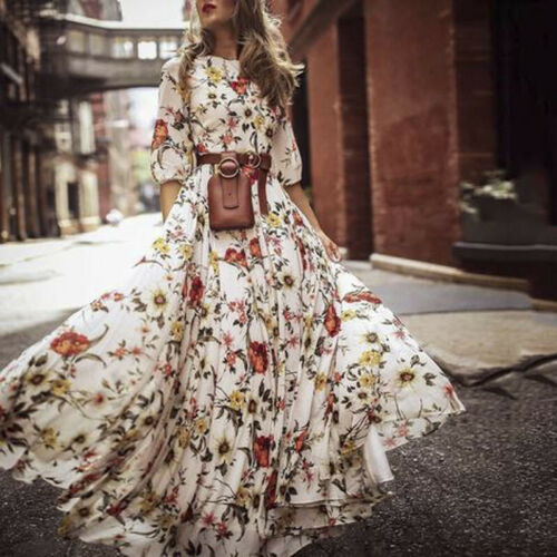 Womens Bohemian Floral Maxi Dress Party Evening Summer Beach Sundress Elegant Plus Size
