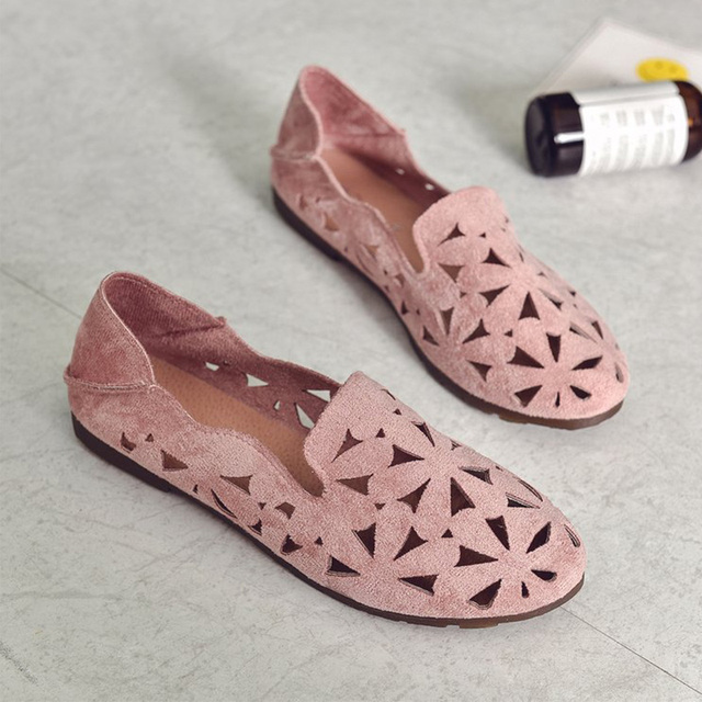 Yaz Kadın düz ayakkabı Yumuşak günlük mokasen ayakkabı Kadın Bale Daireler Tatlı Kesip Süet Kayma Moccasins Nefes kadın ayakkabıları