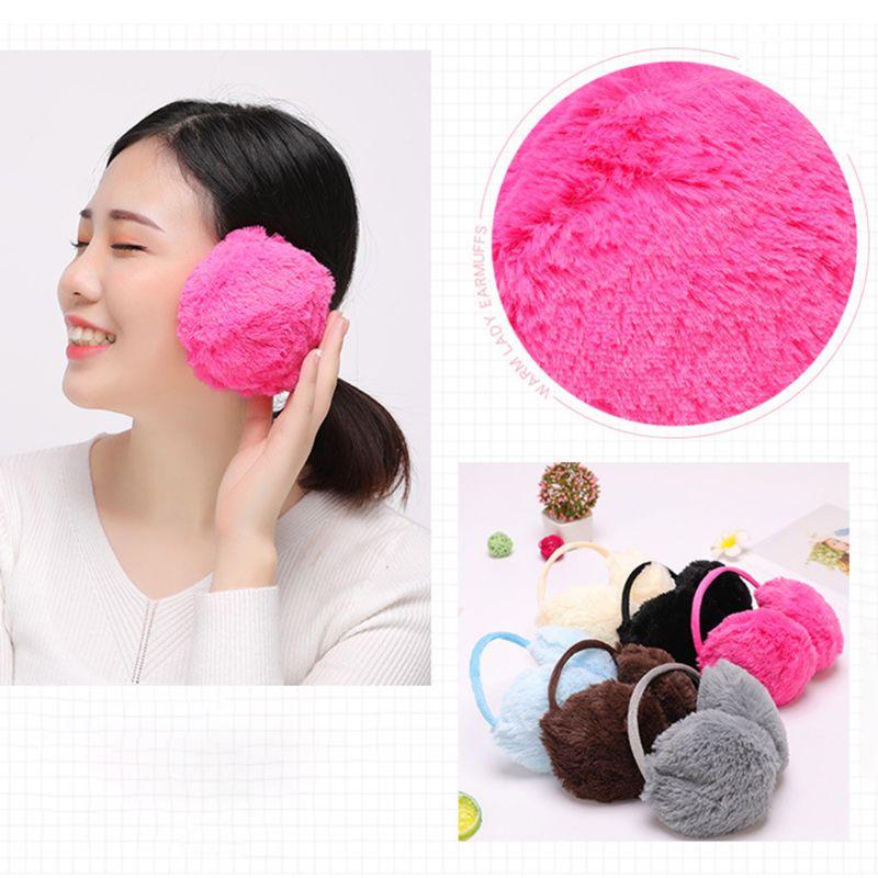 Women Girls Winter Plush Earmuffs Sweet Solid Candy Color Earflap Elastic Stretchy Thin Headband Ear Cover Warmer Random Color