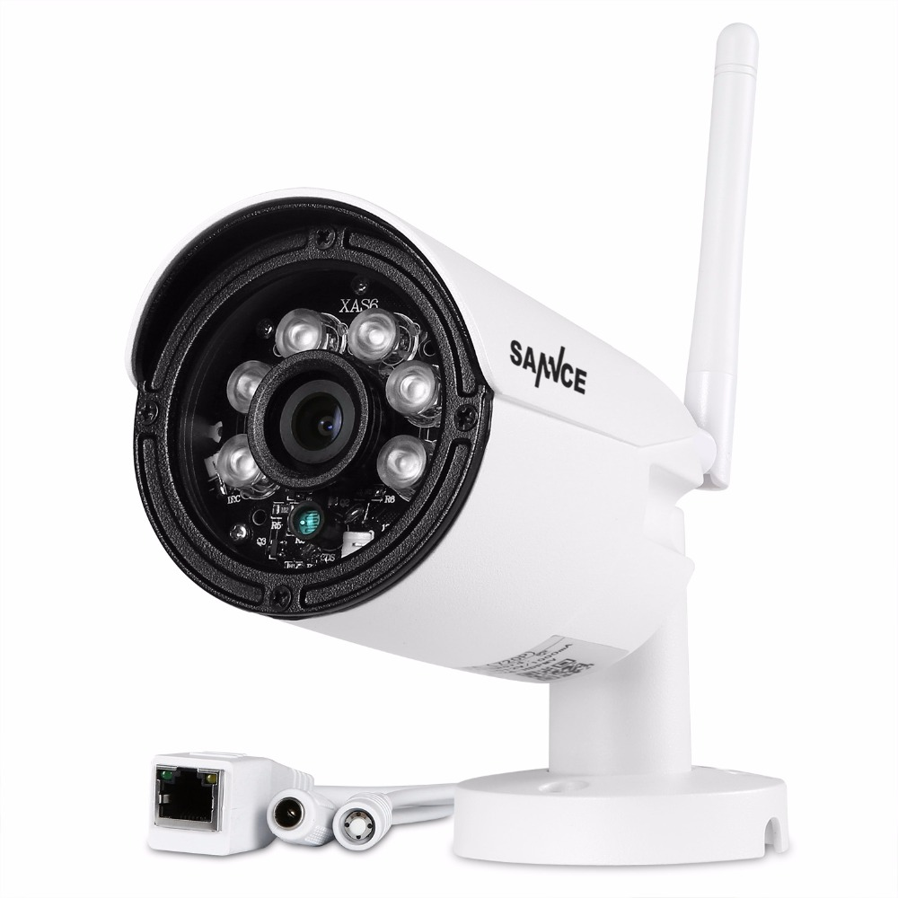 SANNCE 1280 x 720P 1.0MP Bullet WIFI IP Camera Waterproof 2LED IR Night Vision Outdoor Security Camera ONVIF P2P CCTV Cam wistino cctv camera metal housing outdoor use waterproof bullet casing for ip camera hot sale white color cover case