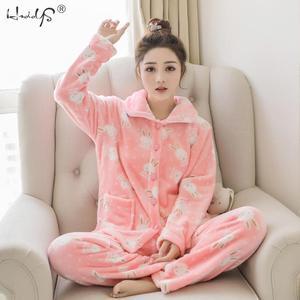 Image 1 - Зимние пижамные комплекты для женщин из двух предметов, фланелевый толстый теплый топ и штаны, пижамные комплекты, милые животные, кавайные пижамы, одежда для сна, Пижамный костюм