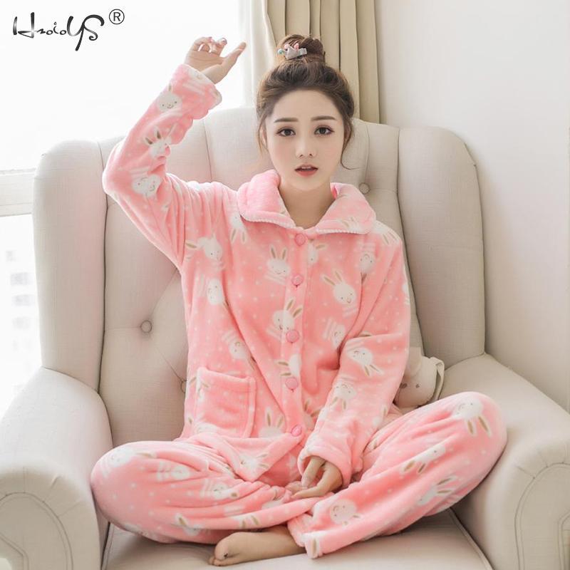 Winter Pajamas Set Women Two Piece Flannel Thick Warm Top And Pants Pajamas Sets Cute Animal Kawaii Pajama Sleepwear Pajama Suit