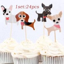 24 Uds. De topes para hornear pasteles para perros, banderas de inserción para fiesta de cumpleaños de niños, suministros de herramientas decorativas para pasteles, suministros para niños