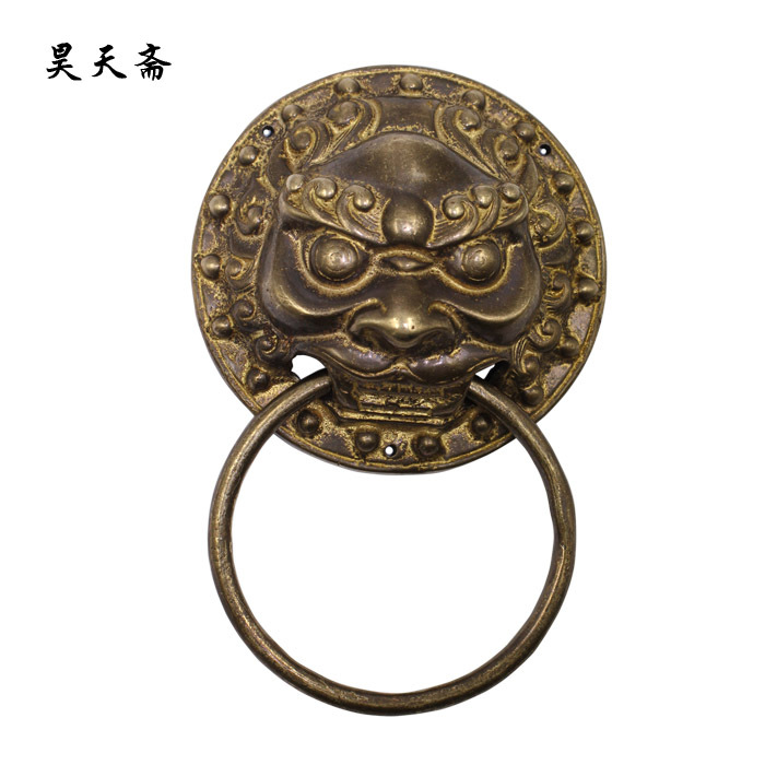 [Haotian vegetarian] Ancient Chinese bronze animal head door knocker copper ring handle copper door handle lion paragraph chinese antique copper fittings knocker copper handle big lion tiger beast head copper shop first hand ring gate