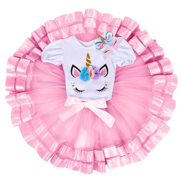 545c75b04 3pcs Cute Baby Girls Clothes Set Unicorn First Birthday Party Cake Smash  Outfit Tulle Skirt Bodysuit