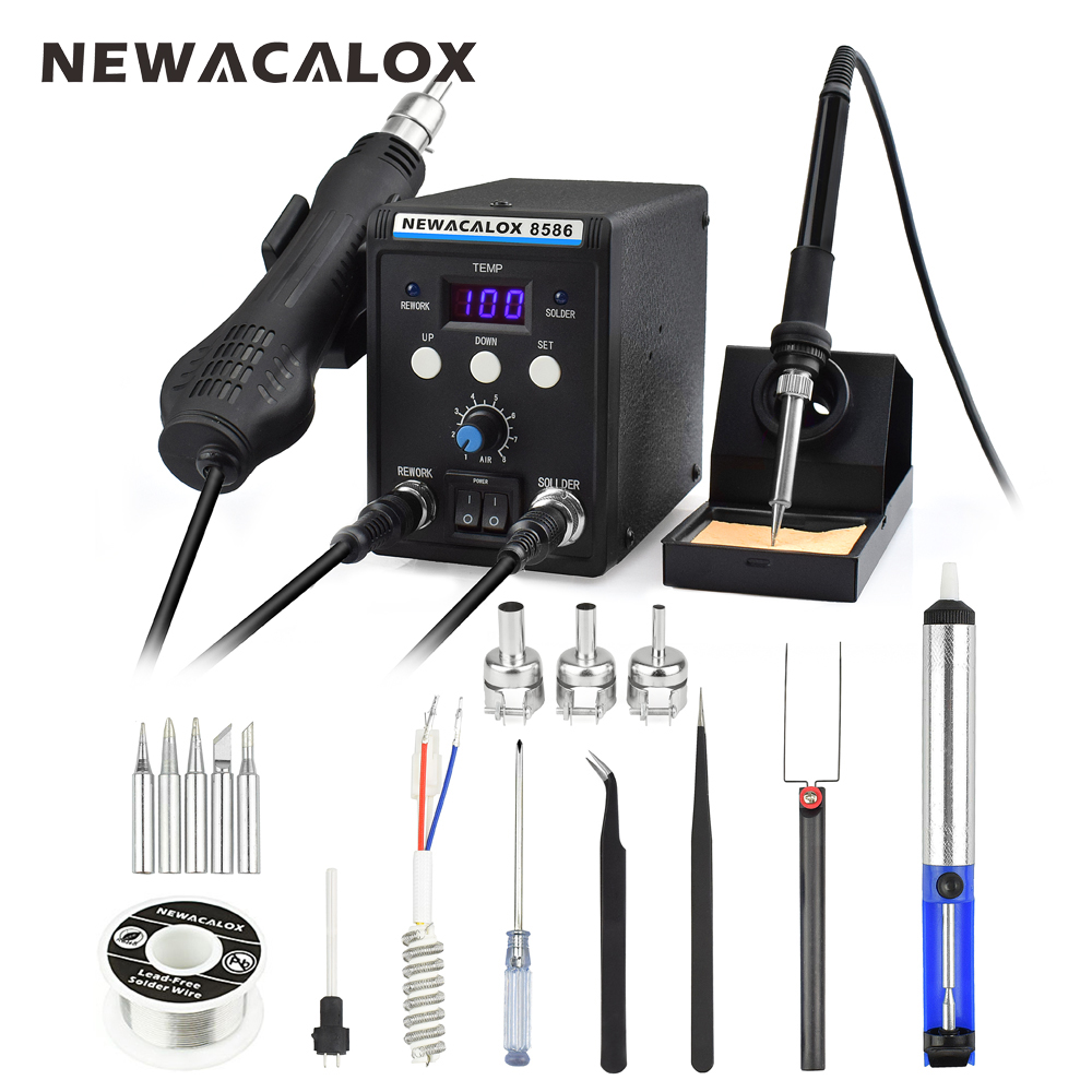 цена на NEWACALOX 8586 EU 220V 700W Hot Air Gun Lead-Free Soldering Station BGA Rework SMD Heat Electric Soldering Iron Kit Welding Tip