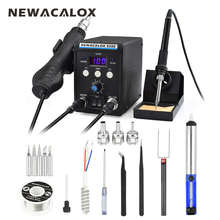 Фотография NEWACALOX 8586 EU 220V 700W Hot Air Gun Lead-Free Soldering Station BGA Rework SMD Heat Electric Soldering Iron Kit Welding Tip