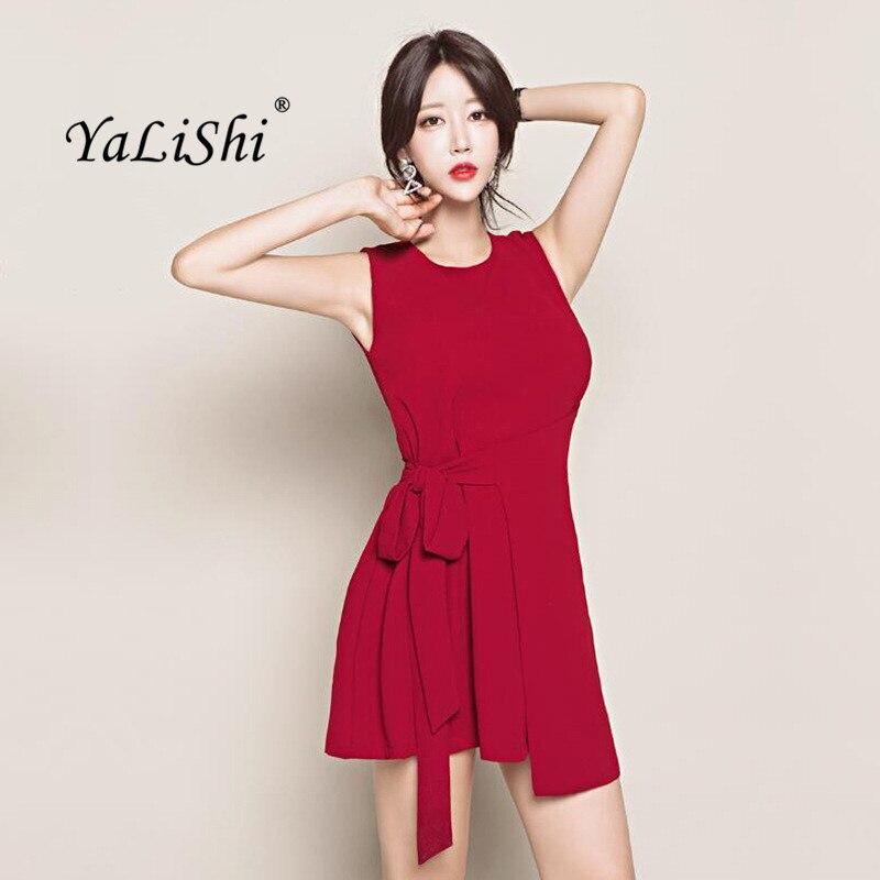Лето Плюс Размеры асимметричное платье Для женщин красный майка без рукавов с круглым вырезом и бантом пояса элегантные офисные мини-плать...