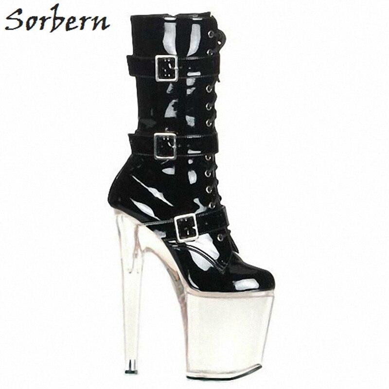 De Heels 10 clear Hebilla 46 Tacones China Super 2018 Mujeres Heels Cm Botas 20 Plataforma Para Tamaño Spike Altos Sorbern Gladiador 35 Moda Black Azgaz