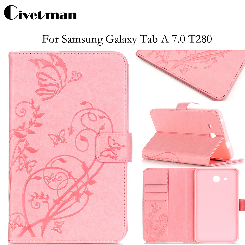 New Fashion High Quality Embossed PU Leather Case For Samsung Galaxy Tab A6 7.0 T280 T285 7