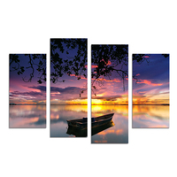 4 Panel Lake Scenery Wall Art Painting Boat Picture Canvas Prints 4 Panel Canvas Art for Living Room Decoration