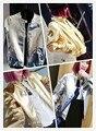16 Calle de La Moda en Europa y América Harajuku Piloto Tuhao oro y plata párrafo Corto de cuero de LA PU, chaqueta de la chaqueta S-XL