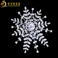 OBN Luxury Micro Pave CZ Silver Extra Large Snowflake Brooches Rhinestone Wedding Bridal Jewelry For Women