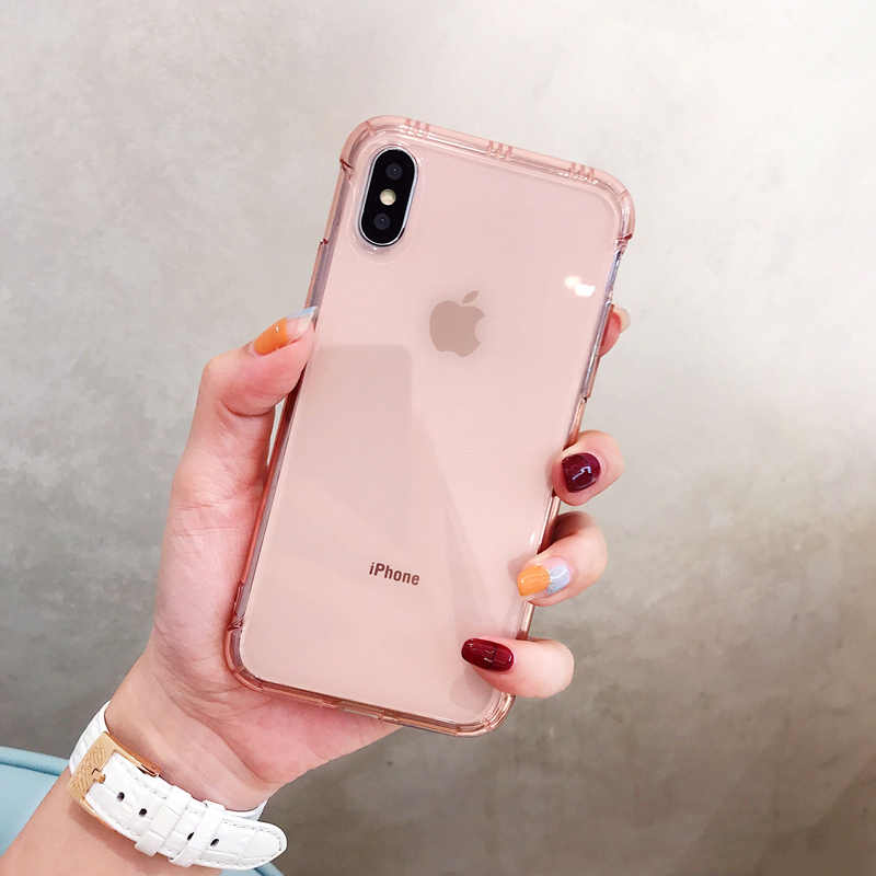 new styles f75a2 50750 Clear Air Cushion Anti-knock phone Case for iphone X XR XS XS Max Silicone  case for iphone 6 6s 7 8 7plus Shockproof cover