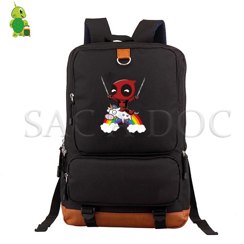 Fashion Deadpool Unicorn Backpacks School Bag for Teenagers Students Women Men Canvas Laptop Backpack Large Casual Travel Bag in Backpacks from Luggage Bags
