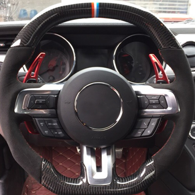 For Ford Mustang 2015 2016 2017 2018 Aluminum Car Styling Steering Wheel  DSG Shift Paddle Extension Shifters Sticker Cover 2*