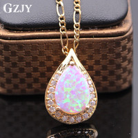 GZJY Luxury Necklace Pendant White Blue Pink Fire Opal&AAA Zircon Gold Color Waterdrop Pendant For Gift of Love