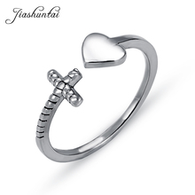 JIASHUNTAI Real 925 Sterling Silver Rings For Women Fashion Heart And Cross Adjustable Ring Fine Silver Jewelry for Lover Gifts largerlof real 925 sterling silver jewelry rings handmade fine jewelry ceramics adjustable rings jz3073