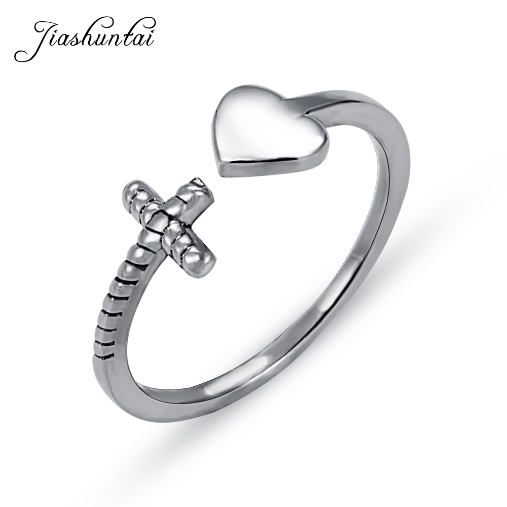 JIASHUNTAI <font><b>Real</b></font> <font><b>925</b></font> Sterling Silver <font><b>Rings</b></font> <font><b>For</b></font> <font><b>Women</b></font> Fashion Heart And Cross Adjustable <font><b>Ring</b></font> Fine Silver Jewelry <font><b>for</b></font> Lover Gifts image