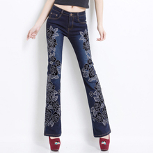 Women Jeans with Embroidery Manual Embroidered Flares Pants Hand Beading Boot Cut Bottoms Stretch Black Blue Floral Denim Jean
