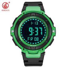 7398e318c88b Nuevo Horloge de moda marca OHSEN reloj Digital con LED impermeable  cronómetro deporte reloj de banda de goma hombre verde caso .