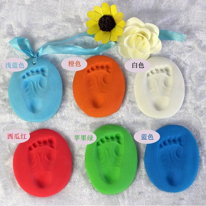 Newborn Baby Souvenirs Gifts Air Drying Soft Clay Handprint Footprint Imprint Casting Hand Footprint Makers 100g Random Color