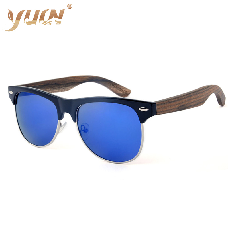 6cc0ea606aa YUW Retro Classic Natural Wood Sunglasses Half frame Polarized oculos  Wooden temples sun glasses for men