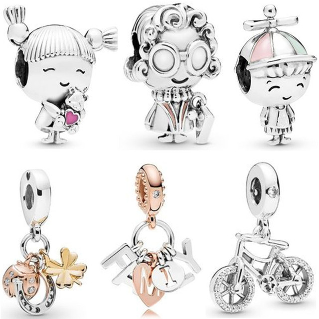 Fit Original Pandora Charms Bracelet Trinket Jewelry For Women Making 2020 New Girl with Pigtails Family Hat Boy Mrs. Wise Bead