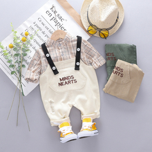 New 2019 Autumn Toddler Infant Clothing Sets Baby Boys Clothes Suits Plaid Shirt Pants Children Kids Casual Costume Kids Suit цена в Москве и Питере