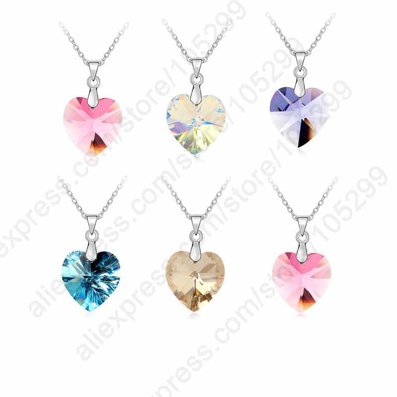 Wholesale Mix Austrian Crystal 925 Sterling Silver  Jewelry Heart Pendant Necklace Collar Woman Accessories Gift