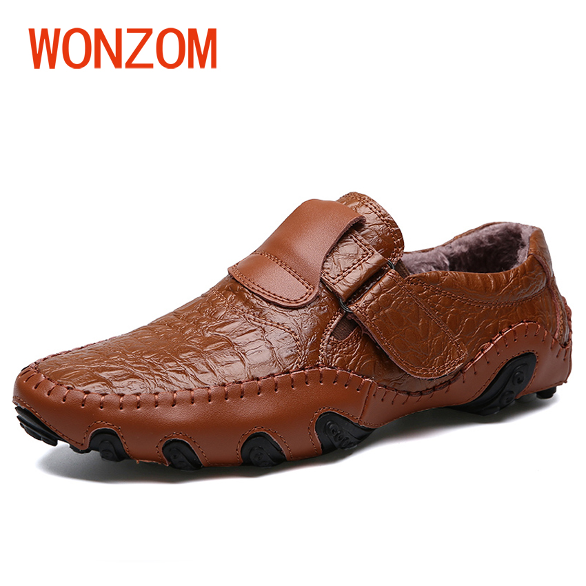 WONZOM 2017 Winter New Fashion Handmade Genuine Leather Male Loafers Soft Slip On Casual Shoes Plush Warm Fur Shoes Gift For Men wonzom high quality genuine leather brand men casual shoes fashion breathable comfort footwear for male slip on driving loafers
