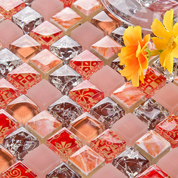 Red Cheap Mosaic Glass Tile Interior Wall Covering Bathroom Tile Wholesale
