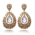Love Deluxe Earrings-Free shipping Noble fashion elegant long evening Gold Plated Drop bridal earrings